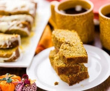Sliced Pumpkin Bread With Two Cups of Coffee