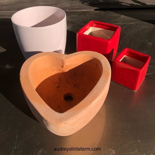 Red, Pink, and Heart Shaped Garden Pots