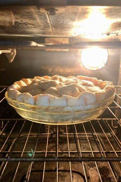 Homemade Apple Pie Baking in the Oven