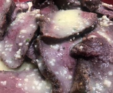 Sliced Venison Backstrap With Butter and Garlic
