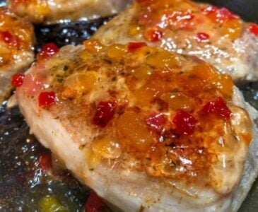 Sous Vide Pork Chops Topped With Apricot Habanero Jelly
