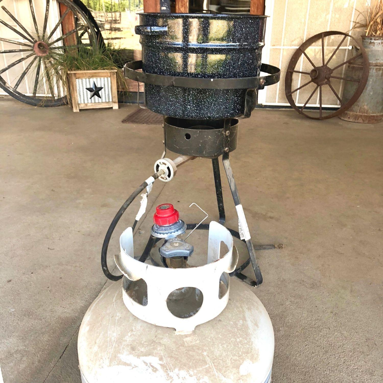 A propane wok burner and a water bath canner